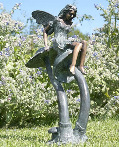 Escar uk bronze twinkle fairy on a mushroom bronze bronze products - Large garden fairy statues ...