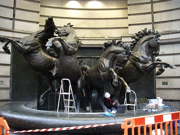 Bronze Horse Fountain Restoration in Progress